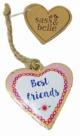 HEART SHAPED 'BEST FRIENDS'  SHABBY CHIC METAL HANGING KEEP SAKE GREAT GIFT..